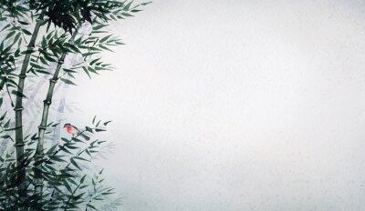 Obraz Ptaszek w bambusowym gaju. Obraz w stylu japońskim