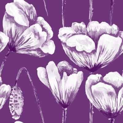 Obraz Purple and white poppy pattern