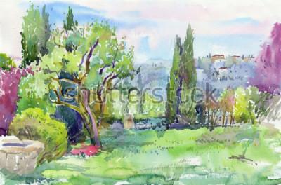 Obraz Rano we włoskim ogrodzie. Akwarela
