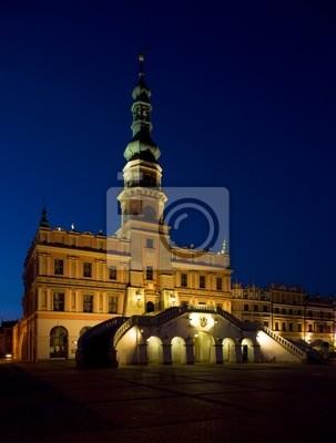 Obraz Ratusz W Nocy Main Square Rynek Wielki Zamościu Polska