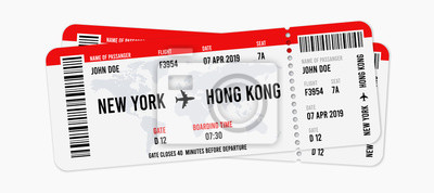 Obraz Realistic airline ticket design with passenger name. Vector illustration