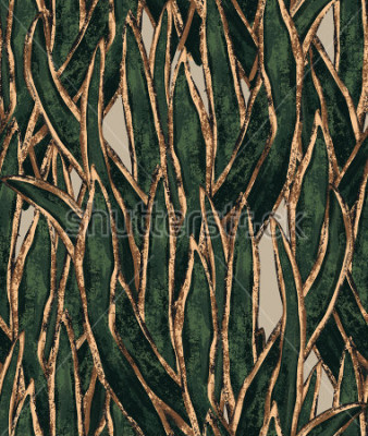 Obraz ręcznie malowane tapety wodorostów. egzotyczny wzór trawy. tropikalna ilustracja do ochrony tkanin i powierzchni