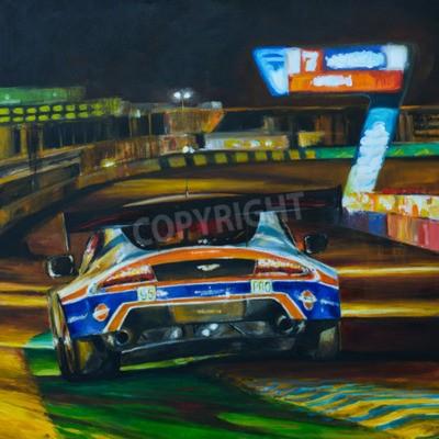 Obraz Ręcznie malowany obraz wyścigowej jazdy samochodem w nocy z dużą prędkością w obwodzie. Ilustracja tworzone z akrylu