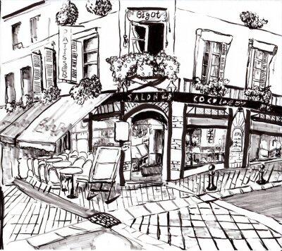 Obraz ręcznie narysować paris kawiarnia