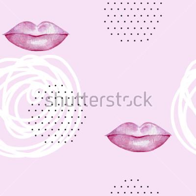 Obraz Ręcznie opracowane kolorowe różowe usta. Abstract wzór.