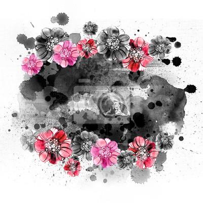 Ręcznie rysowane czerwone i czarne kwiaty. Floral ilustracji w akwarele. Rama Vintage. Kartkę z życzeniami na Dzień Matki, ślub, urodziny, Walentynki.