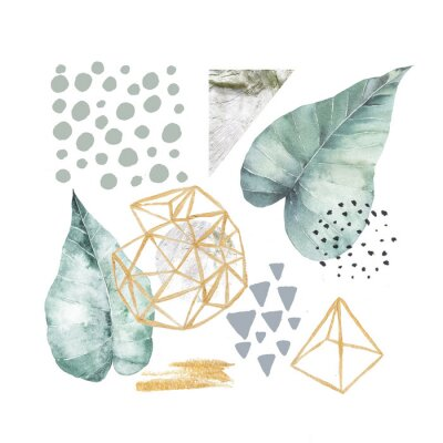 Obraz Ręcznie rysowane ilustracja z elementami akwarela i marmur. Skandynawski design.