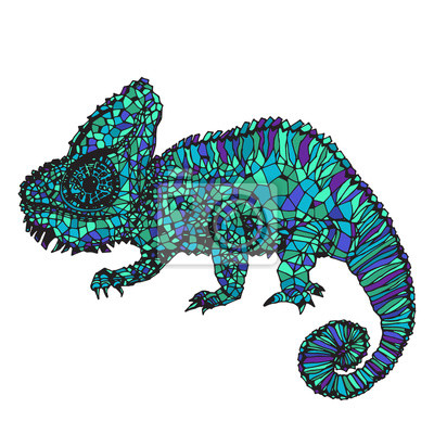 Obraz Ręcznie rysowane ilustracji kameleon.