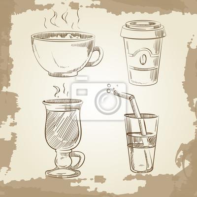 Obraz Ręcznie rysowane kawy herbaty i lemoniady na tło