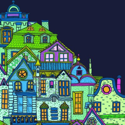 Obraz Ręcznie rysowane tła z nocy starego miasta
