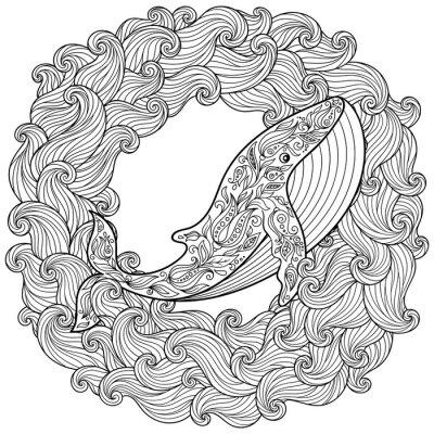 Obraz Ręcznie rysowane wieloryba w fale na antystresowy farbowanie strony
