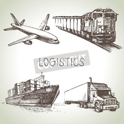 Obraz Ręcznie rysowane zestaw ikon szkic logistyki i dostawy. Ilustracji wektorowych