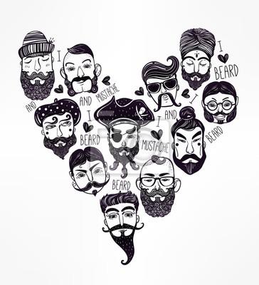 Obraz Ręcznie rysowane zestaw mężczyzn fz stylowy zarost.