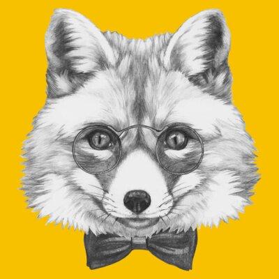 Obraz Ręcznie rysowany portret Fox w okularach. Vector pojedyncze elementy.