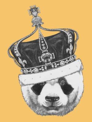 Obraz Ręcznie rysowany portret Panda z koroną. Wektor