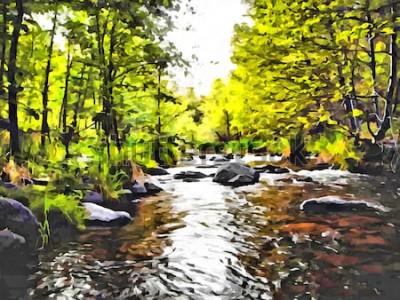 Obraz Ręcznie rysunek akwarela na płótnie. Artystyczny duży nadruk. Oryginalny nowoczesny obraz. Akrylowe suche tło pędzla. Wspaniały letni krajobraz. Europejska dzika przyroda. Czas podróży. Mała leśna rze