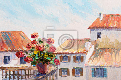 red roses in a pot n the balcony, beautiful rooftops in summer,