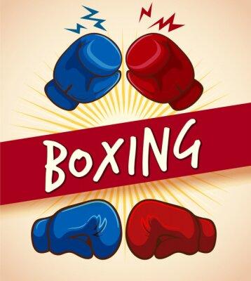 Obraz rękawice bokserskie i banner