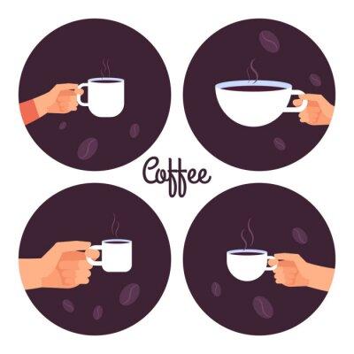 Obraz Ręki trzyma filiżanek kawy wektorowe ikony ustawiają odosobnionego na białej tło ilustraci