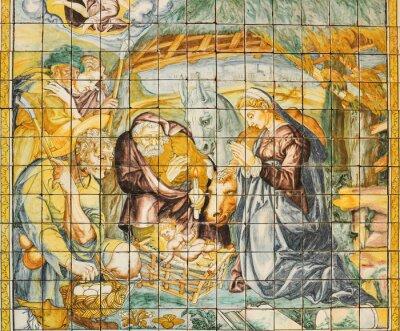 Obraz Religijne dachówka ceramiczna Narodzenia, Lizbona, Portugalia