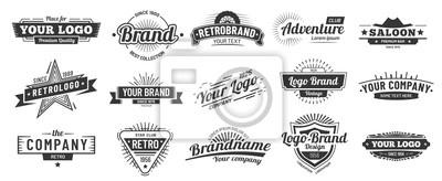 Obraz Retro badge. Old emblem, logo frame and vintage silhouette badges hipster design vector set