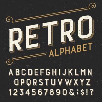 Obraz Retro czcionki Alfabet wektorowych. Serif typu litery, cyfry i symbole. na ciemnym tle udzielenie porysowany. Wektor typografii Zdjęcie na etykiety, nagłówki, plakaty itd.