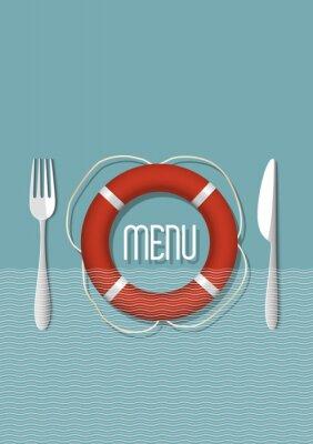 Obraz Retro design menu dla restauracji z owocami morza - odmiana 5