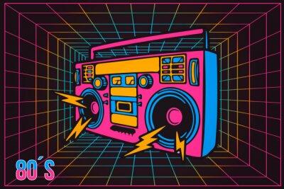 Obraz Retro Pop Party Lata 80-te Party Recorder, neonowy styl kreskówkowy