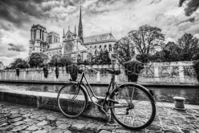 Obraz Retro rower obok katedry Notre Dame w Paryżu, Francji i Sekwanie. Czarno-biały rocznik
