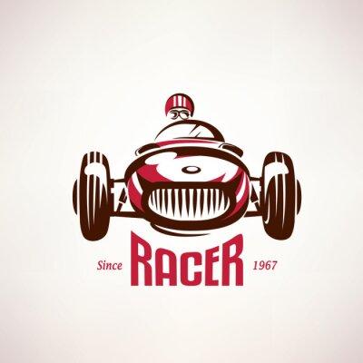 Obraz retro samochód wyścigowy, vintage, vector, Symbol, emblemat, szablon etykiety