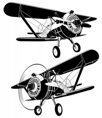 Obraz Retro sylwetki biplane zestaw. Dostępny format wektorowy EPS-8 oddzielony grupami i warstwami dla łatwej edycji