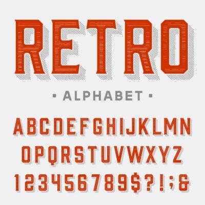 Obraz Retro wektorowych czcionek. Liter, cyfr i symboli. Vintage alfabet dla etykiety, gazet, plakaty itd.