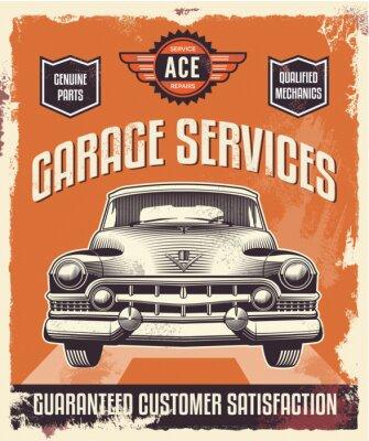 Obraz Retro, znak - plakat reklamowy - Klasyczny samochód - garaż