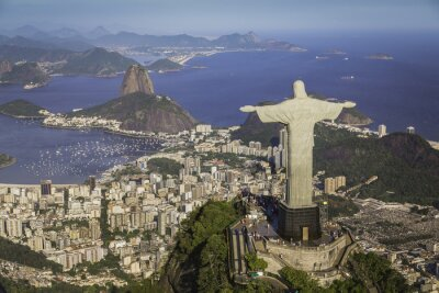 Obraz Rio de Janeiro, Brazylia: Widok z lotu ptaka Chrystusa i Botafogo Bay