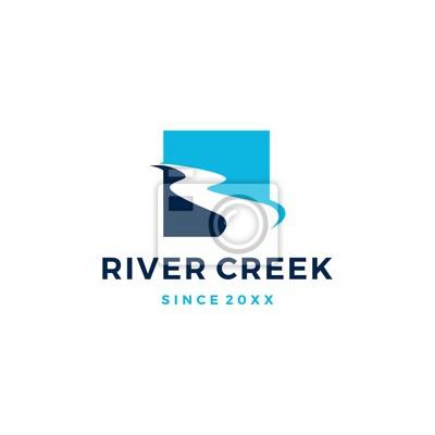 Obraz river creek logo vector icon illustration