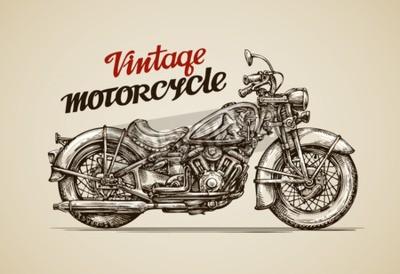 Obraz Rocznik motocykla. Ręcznie rysowane ilustracji wektorowych motocykl