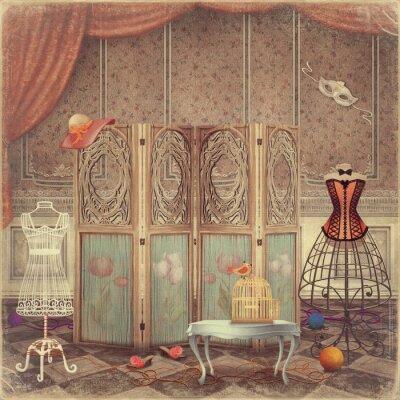 Obraz Rocznik obojętne i ekran w pokoju, modne i Femini