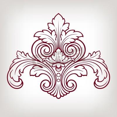 Obraz rocznika elementem barokowy wzór adamaszku rama grawerowania stylu retro