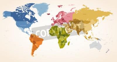Obraz Rocznika kolory High Detail map wektorowych ilustracji całej mapy świata.