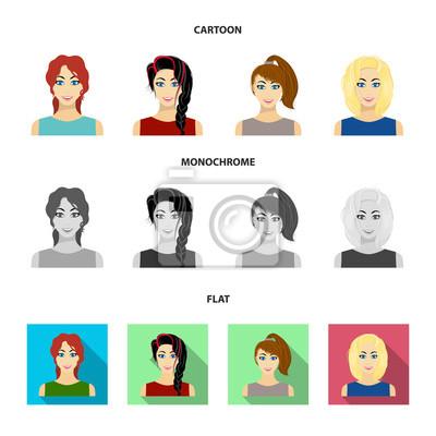 Obraz Rodzaje Kobiece Fryzury Kreskówka Płaskie Monochromatyczne