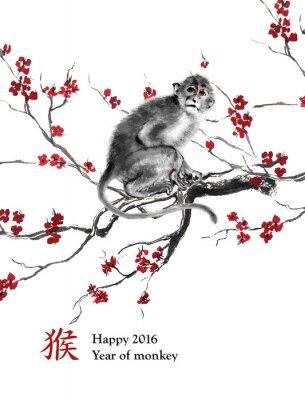 Obraz rok kartkę z życzeniami od małpy. Małpa siedzi na gałęzi wiśni, orientalnego malarstwa tuszem. Z chińskiego hieroglif