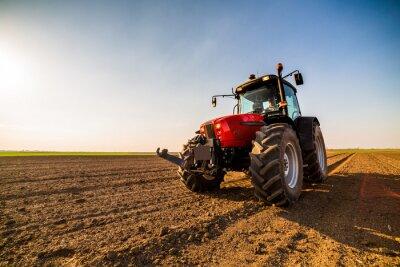 Obraz Rolnik nawożący ziemię uprawną za pomocą azotu, fosforu, nawozu potasowego