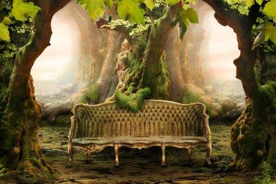 Obraz romantyczne miejsce w głębokim lesie