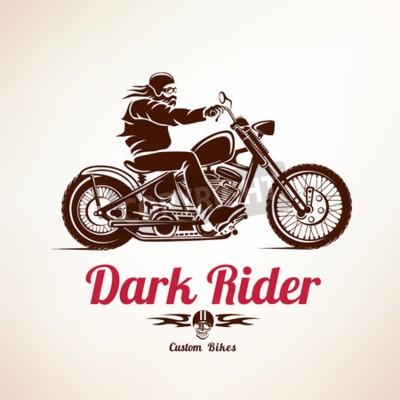 Obraz rowerzysta, motocykl grunge wektora sylwetka, retro godło i etykieta