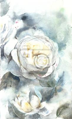 Róże białe kwiaty kartkę z życzeniami Ilustracja akwarela