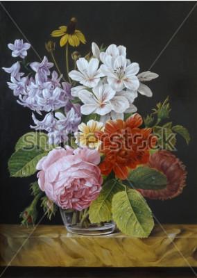 Obraz Róże w szklanym wazonie. Maki, fiołki, rumianek. Obraz. Martwa natura.