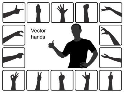 Obraz Różne sylwetki wektor ręce