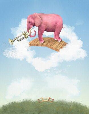 Obraz Różowy słoń w niebo z trąbką. Ilustracja