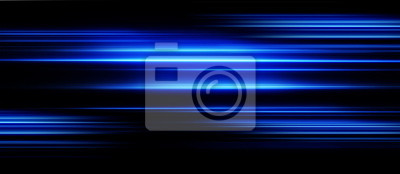 Obraz Ruch prędkości przyspieszenia na drodze w nocy. Światło i paski poruszają się szybko na ciemnym tle. Streszczenie niebieskim ilustracji.