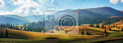 Obraz rural area of carpathian mountains in autumn. wonderful panorama of borzhava mountains in dappled light observed from podobovets village. agricultural fields on rolling hills near the spruce forest